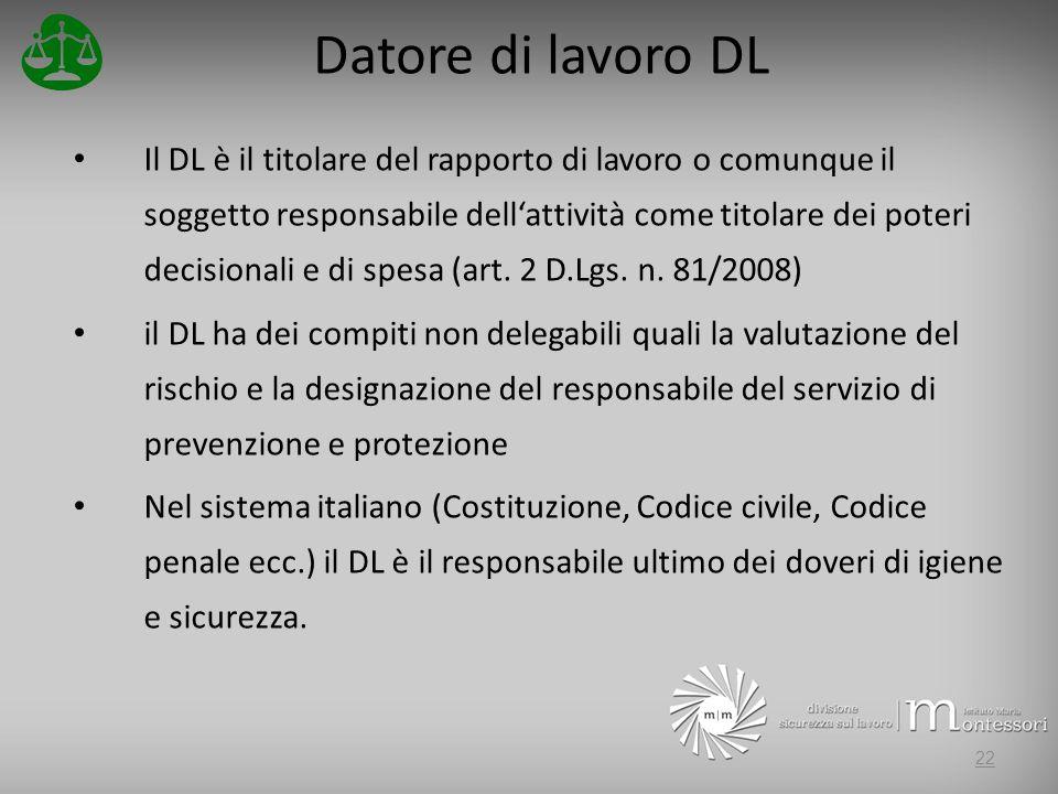 Datore di lavoro DL Il DL è il titolare del rapporto di lavoro o comunque il soggetto responsabile dellattività come titolare dei poteri decisionali e di spesa (art.