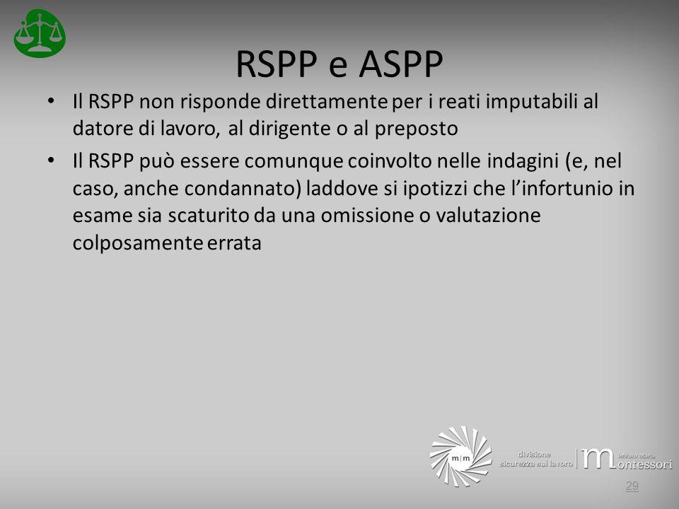 RSPP e ASPP Il RSPP non risponde direttamente per i reati imputabili al datore di lavoro, al dirigente o al preposto Il RSPP può essere comunque coinvolto nelle indagini (e, nel caso, anche condannato) laddove si ipotizzi che linfortunio in esame sia scaturito da una omissione o valutazione colposamente errata 29