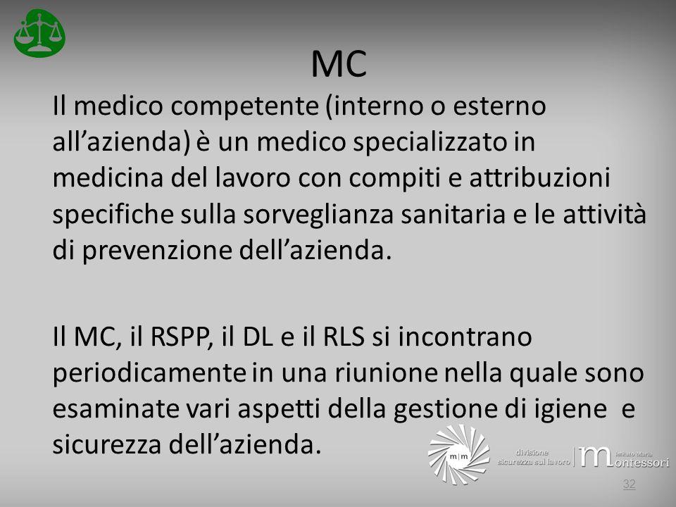 MC Il medico competente (interno o esterno allazienda) è un medico specializzato in medicina del lavoro con compiti e attribuzioni specifiche sulla sorveglianza sanitaria e le attività di prevenzione dellazienda.