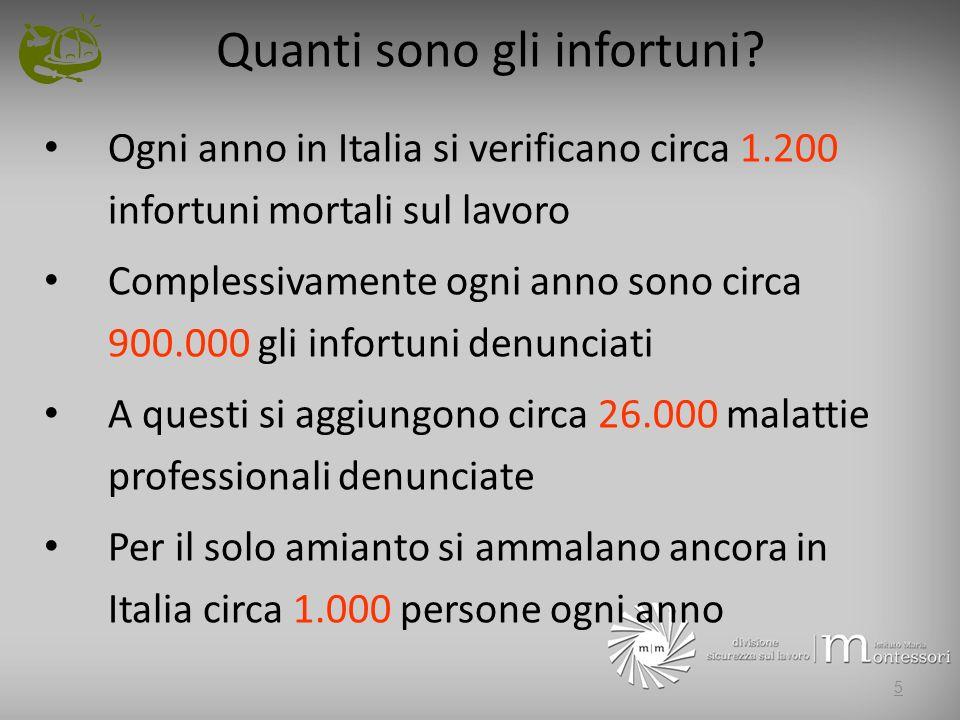 Quanti sono gli infortuni? Ogni anno in Italia si verificano circa 1.200 infortuni mortali sul lavoro Complessivamente ogni anno sono circa 900.000 gl