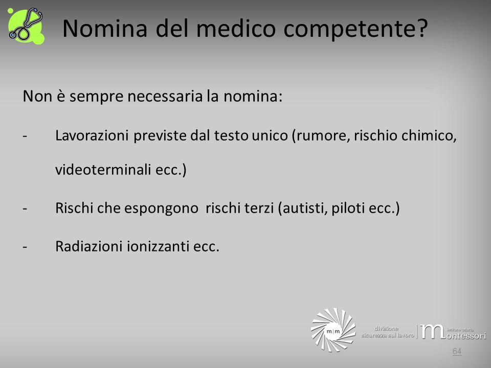 Nomina del medico competente.