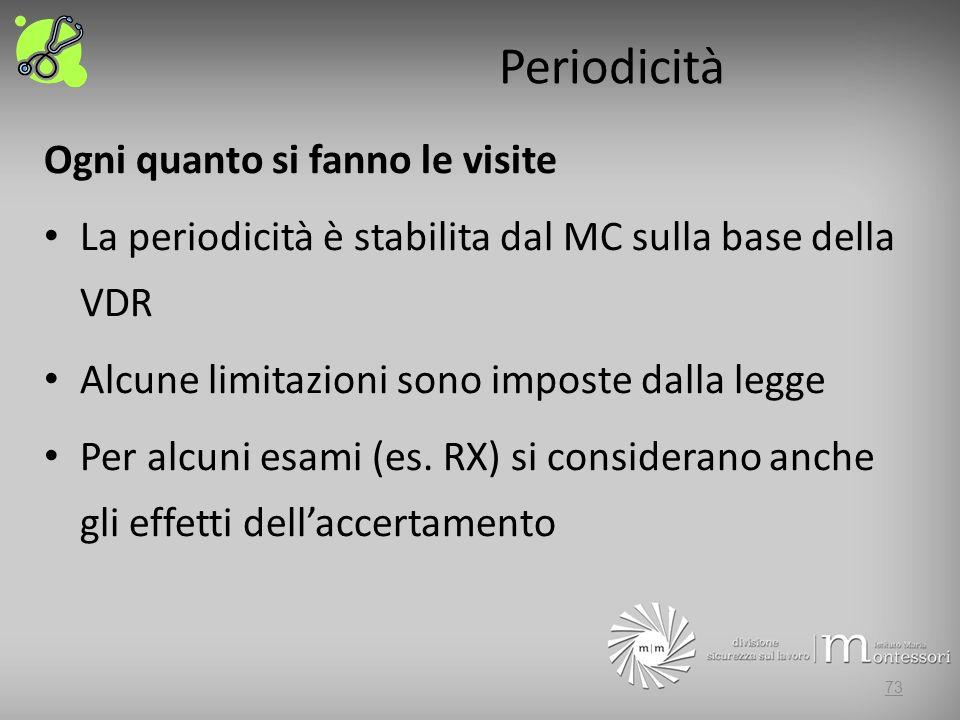Periodicità Ogni quanto si fanno le visite La periodicità è stabilita dal MC sulla base della VDR Alcune limitazioni sono imposte dalla legge Per alcuni esami (es.