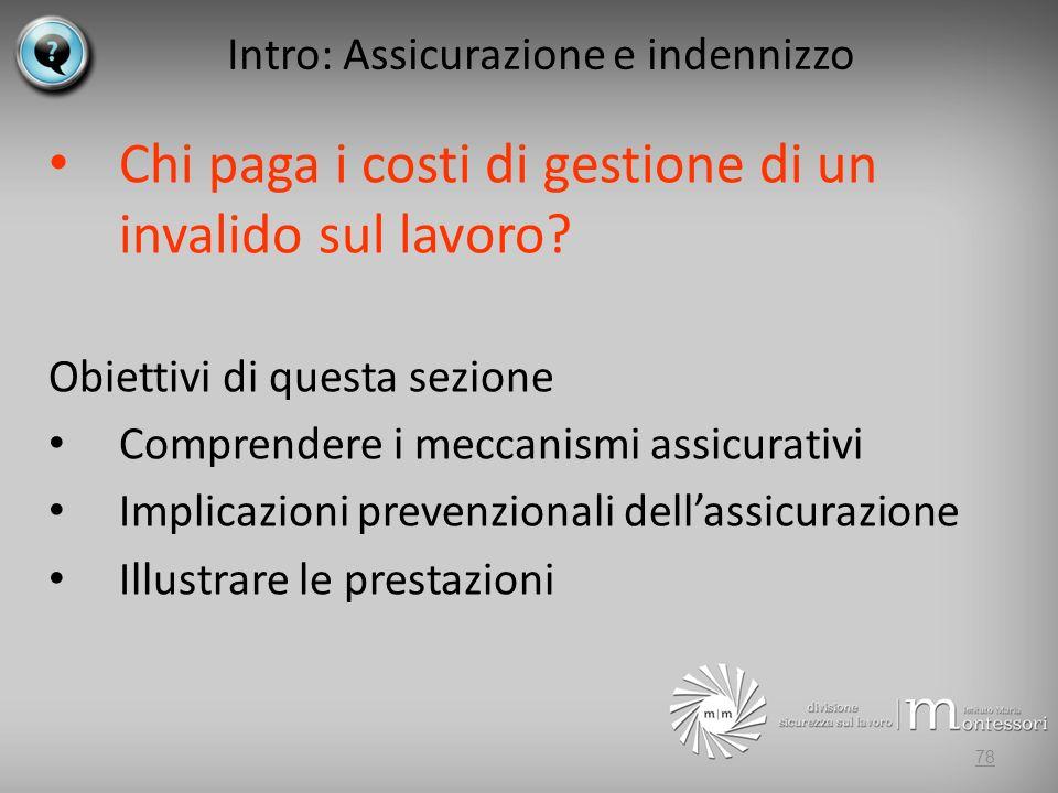 Intro: Assicurazione e indennizzo Chi paga i costi di gestione di un invalido sul lavoro? Obiettivi di questa sezione Comprendere i meccanismi assicur