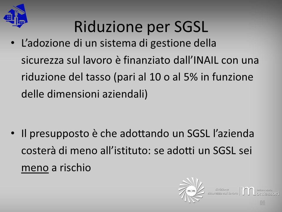 Riduzione per SGSL Ladozione di un sistema di gestione della sicurezza sul lavoro è finanziato dallINAIL con una riduzione del tasso (pari al 10 o al 5% in funzione delle dimensioni aziendali) Il presupposto è che adottando un SGSL lazienda costerà di meno allistituto: se adotti un SGSL sei meno a rischio 86