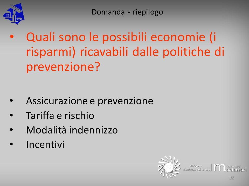 Domanda - riepilogo Quali sono le possibili economie (i risparmi) ricavabili dalle politiche di prevenzione? Assicurazione e prevenzione Tariffa e ris