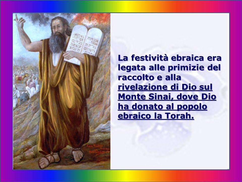 La Pentecoste Nell ebraismo la Pentecoste è una delle tre fe- stività, dette Shalosh regalim (tre pellegrinag- gi), denotanti feste di pellegrinaggio - a Geru- salemme.