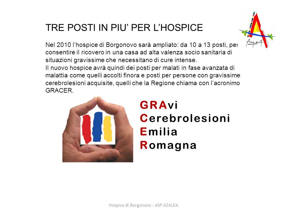 TRE POSTI IN PIU PER LHOSPICE Nel 2010 lhospice di Borgonovo sarà ampliato: da 10 a 13 posti, per consentire il ricovero in una casa ad alta valenza s