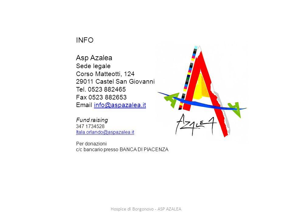 Hospice di Borgonovo - ASP AZALEA INFO Asp Azalea Sede legale Corso Matteotti, 124 29011 Castel San Giovanni Tel. 0523 882465 Fax 0523 882653 Email in