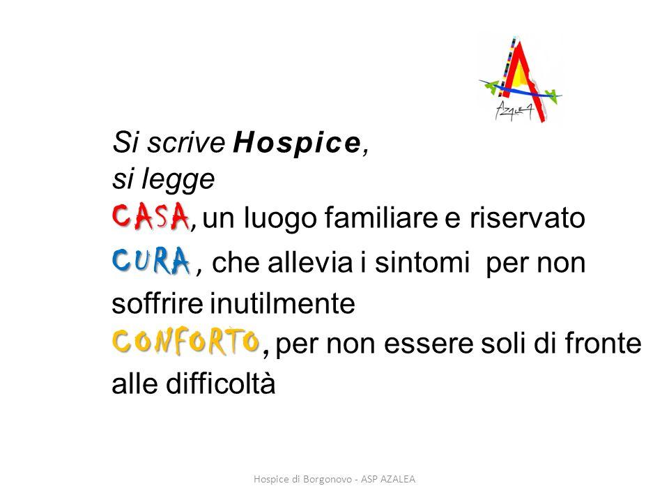 Si scrive Hospice, si legge CASA CASA, un luogo familiare e riservato CURA CURA, che allevia i sintomi per non soffrire inutilmente CONFORTO CONFORTO,