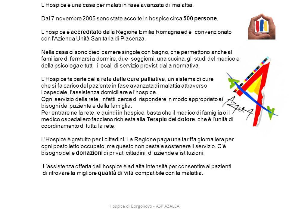 Hospice di Borgonovo - ASP AZALEA LHospice è una casa per malati in fase avanzata di malattia. Dal 7 novembre 2005 sono state accolte in hospice circa