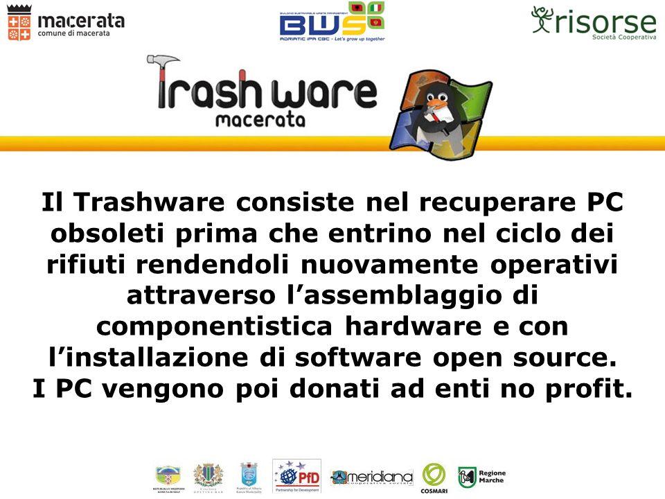 Il Trashware consiste nel recuperare PC obsoleti prima che entrino nel ciclo dei rifiuti rendendoli nuovamente operativi attraverso lassemblaggio di c