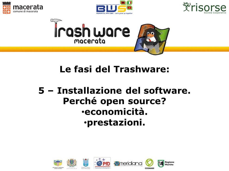 Le fasi del Trashware: 5 – Installazione del software. Perché open source? economicità. prestazioni.