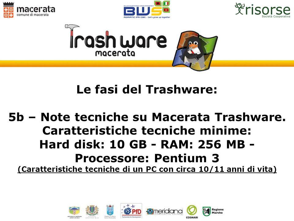 Le fasi del Trashware: 5b – Note tecniche su Macerata Trashware. Caratteristiche tecniche minime: Hard disk: 10 GB - RAM: 256 MB - Processore: Pentium
