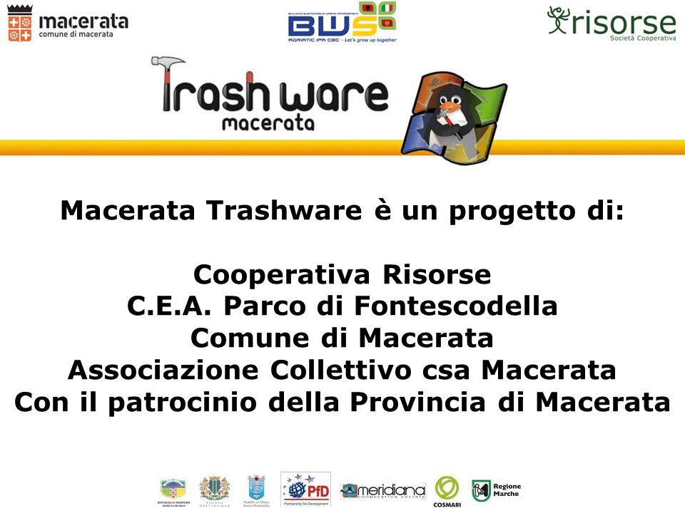 Macerata Trashware è un progetto di: Cooperativa Risorse C.E.A. Parco di Fontescodella Comune di Macerata Associazione Collettivo csa Macerata Con il