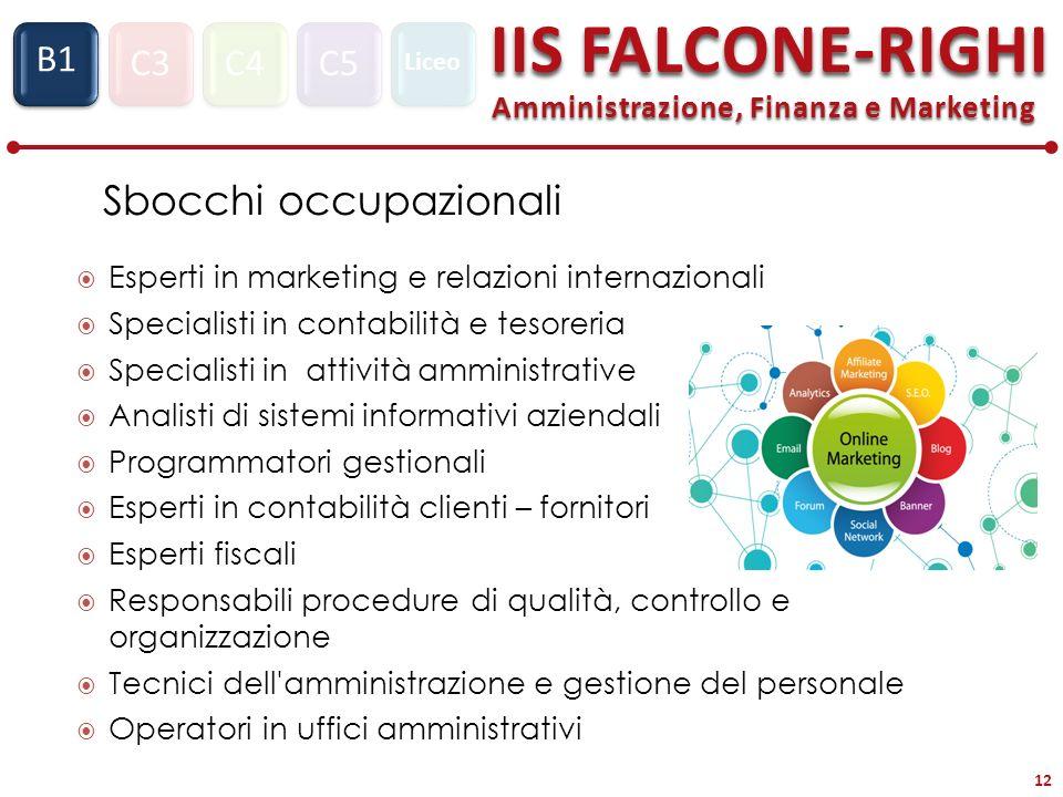 C3C4C5 IIS FALCONE-RIGHI Amministrazione, Finanza e Marketing S1 B1 Liceo 12 Sbocchi occupazionali Esperti in marketing e relazioni internazionali Spe
