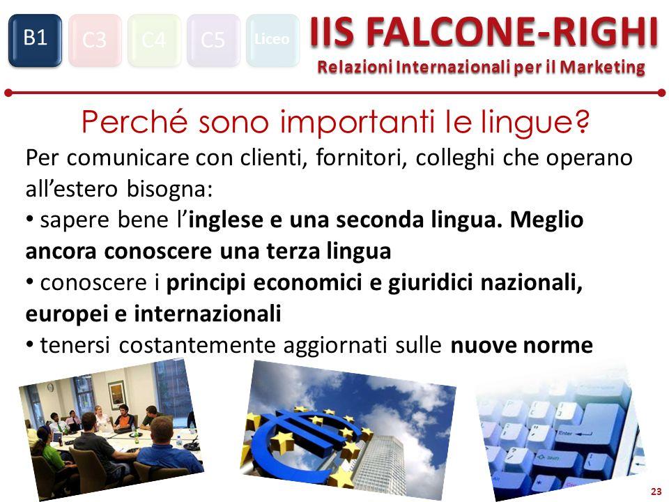 C3C4C5 IIS FALCONE-RIGHI Relazioni Internazionali per il Marketing S1 B1 Liceo 23 Perché sono importanti le lingue? Per comunicare con clienti, fornit