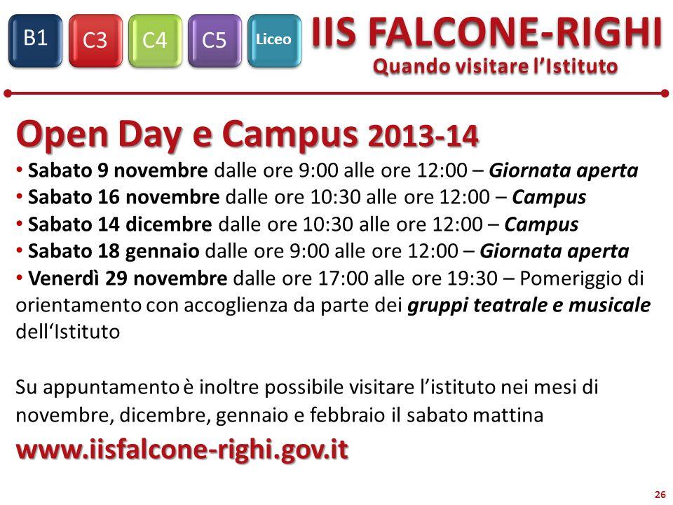 C3C4C5 IIS FALCONE-RIGHI S1 B1 Liceo 26 Quando visitare lIstituto Open Day e Campus 2013-14 Sabato 9 novembre dalle ore 9:00 alle ore 12:00 – Giornata