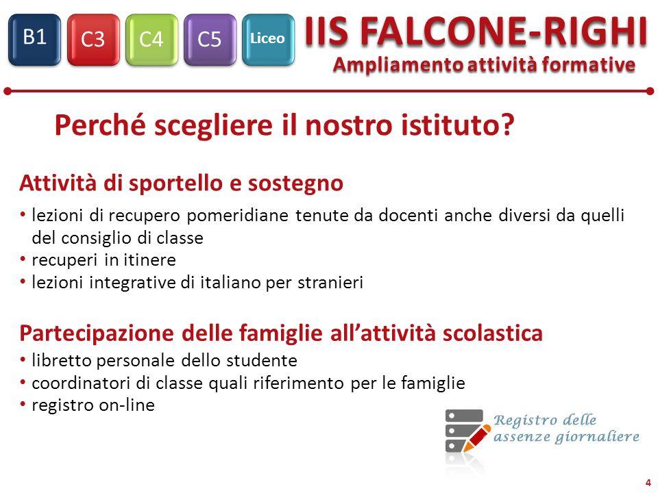 C3C4C5 IIS FALCONE-RIGHI S1 B1 Liceo 4 Ampliamento attività formative libretto personale dello studente coordinatori di classe quali riferimento per l