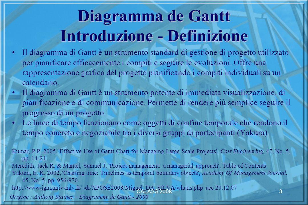CALASS 20083 Diagramma de Gantt Introduzione - Definizione Il diagramma di Gantt è un strumento standard di gestione di progetto utilizzato per pianificare efficacemente i compiti e seguire le evoluzioni.