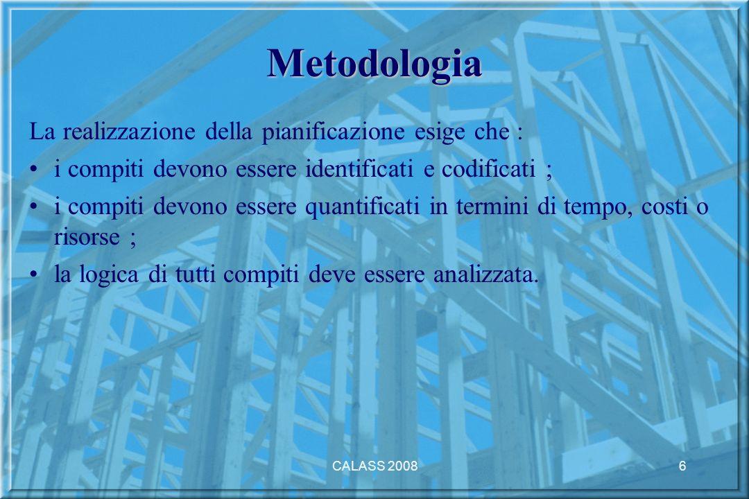 CALASS 20086 Metodologia La realizzazione della pianificazione esige che : i compiti devono essere identificati e codificati ; i compiti devono essere quantificati in termini di tempo, costi o risorse ; la logica di tutti compiti deve essere analizzata.