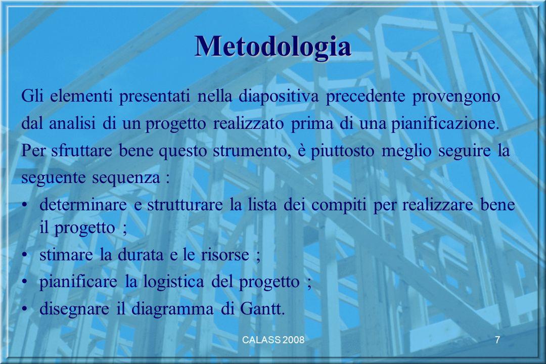 CALASS 20087 Metodologia Gli elementi presentati nella diapositiva precedente provengono dal analisi di un progetto realizzato prima di una pianificazione.