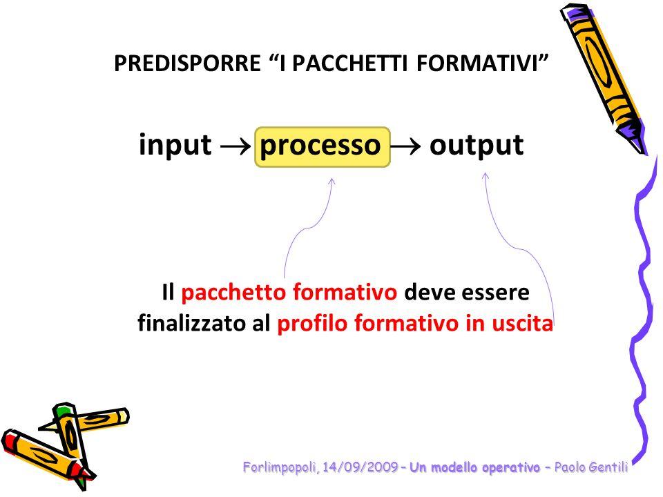PREDISPORRE I PACCHETTI FORMATIVI input processo output Forlimpopoli, 14/09/2009 – Un modello operativo – Paolo Gentili Il pacchetto formativo deve es