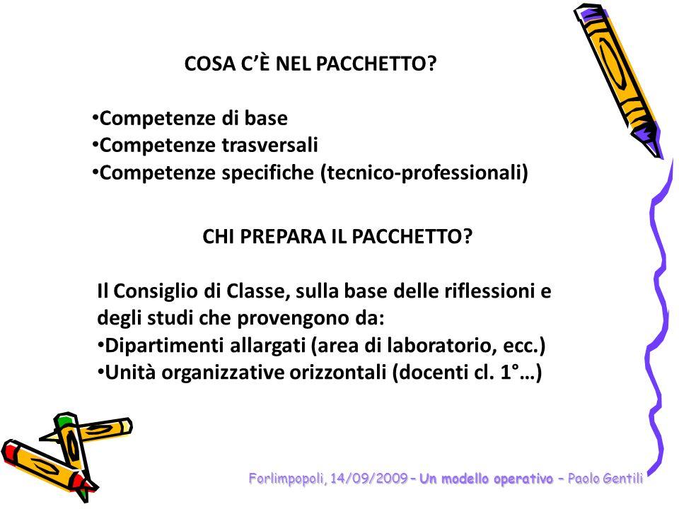Forlimpopoli, 14/09/2009 – Un modello operativo – Paolo Gentili COSA CÈ NEL PACCHETTO? Competenze di base Competenze trasversali Competenze specifiche