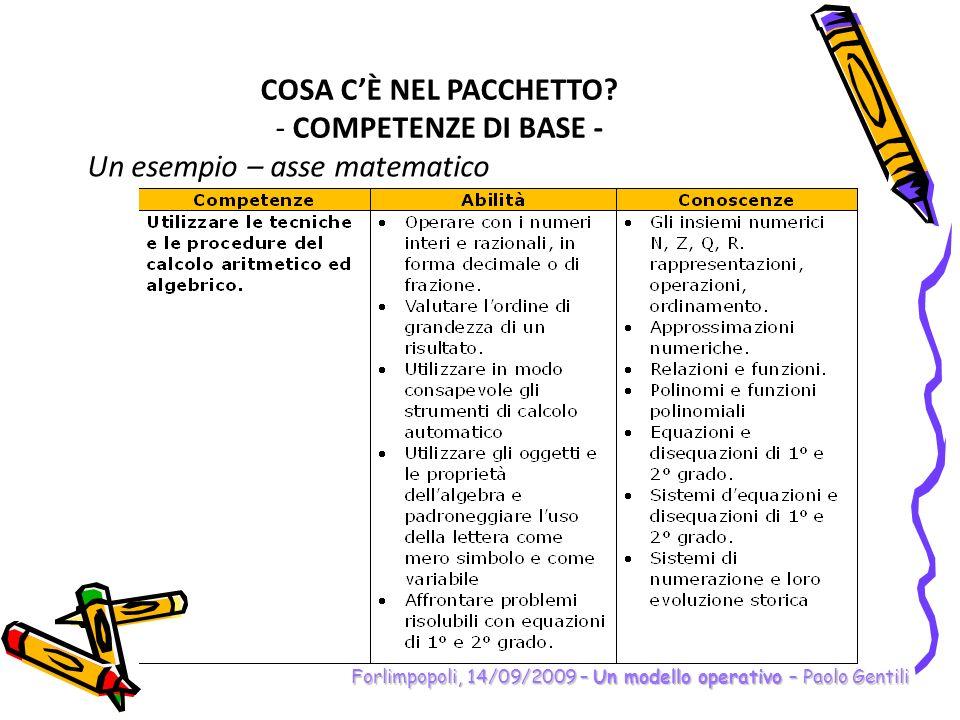 Forlimpopoli, 14/09/2009 – Un modello operativo – Paolo Gentili COSA CÈ NEL PACCHETTO? - COMPETENZE DI BASE - Un esempio – asse matematico