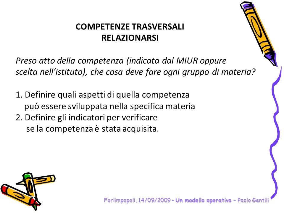 Forlimpopoli, 14/09/2009 – Un modello operativo – Paolo Gentili Preso atto della competenza (indicata dal MIUR oppure scelta nellistituto), che cosa d
