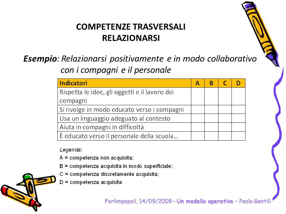 Forlimpopoli, 14/09/2009 – Un modello operativo – Paolo Gentili COMPETENZE TRASVERSALI RELAZIONARSI Esempio: Relazionarsi positivamente e in modo coll