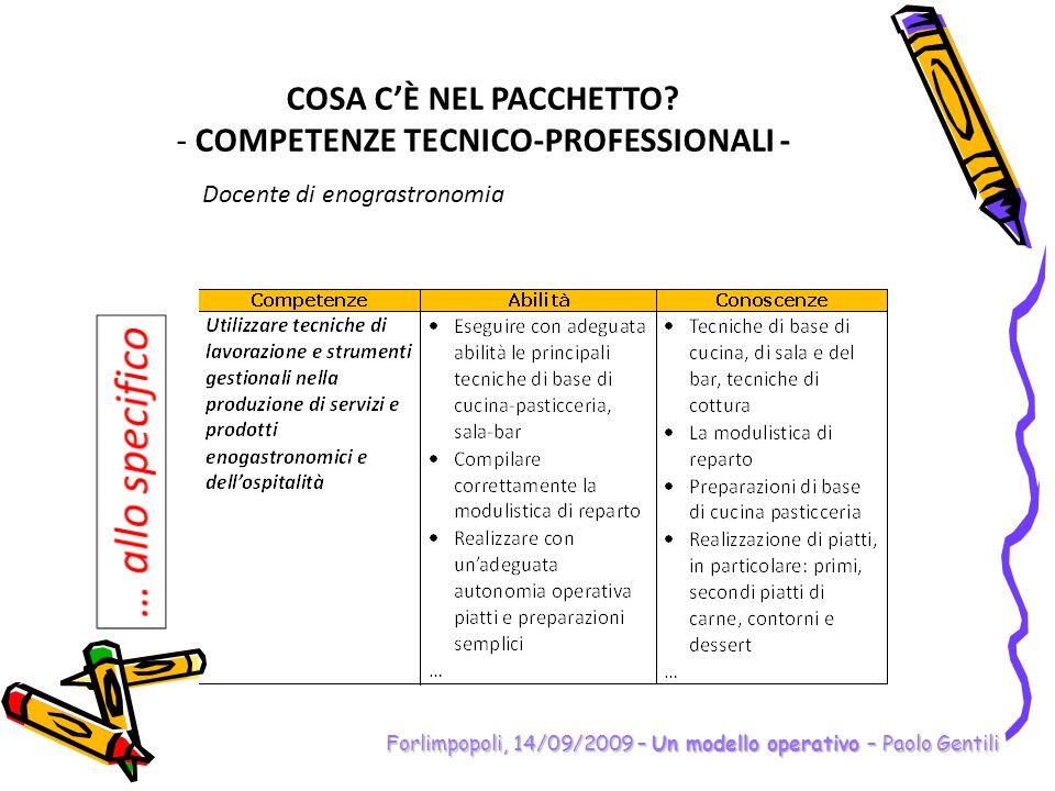 Forlimpopoli, 14/09/2009 – Un modello operativo – Paolo Gentili COSA CÈ NEL PACCHETTO? - COMPETENZE TECNICO-PROFESSIONALI - Docente di enograstronomia