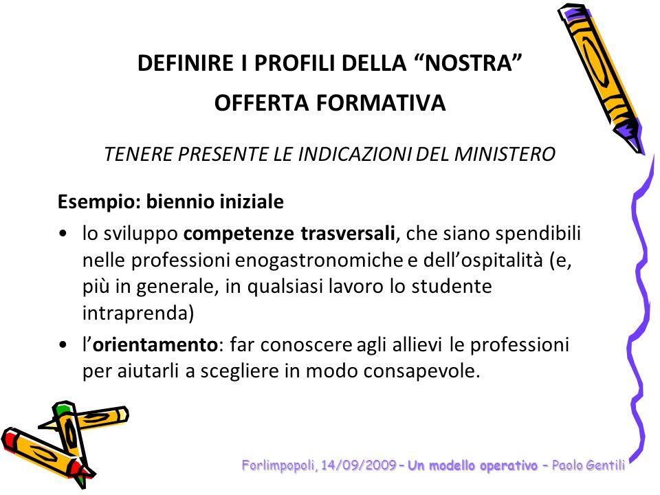 DEFINIRE I PROFILI DELLA NOSTRA OFFERTA FORMATIVA TENERE PRESENTE IL CONTESTO DPR n.