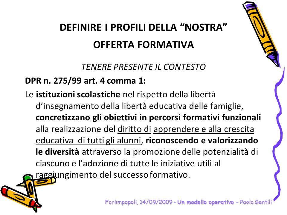 DEFINIRE I PROFILI DELLA NOSTRA OFFERTA FORMATIVA TENERE PRESENTE IL CONTESTO DPR n. 275/99 art. 4 comma 1: Le istituzioni scolastiche nel rispetto de