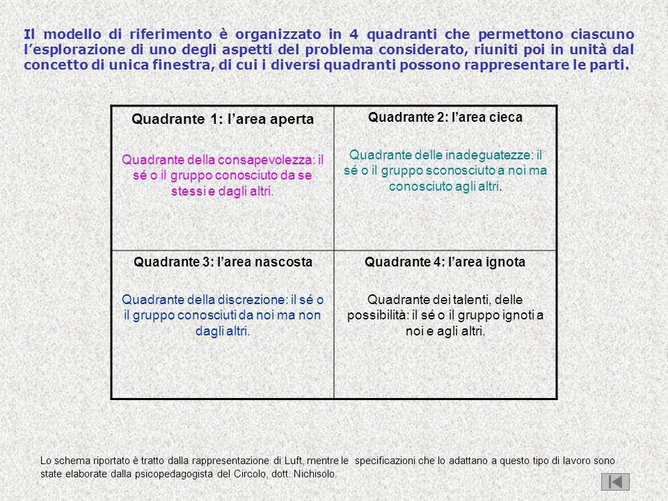 Il modello di riferimento è organizzato in 4 quadranti che permettono ciascuno lesplorazione di uno degli aspetti del problema considerato, riuniti po