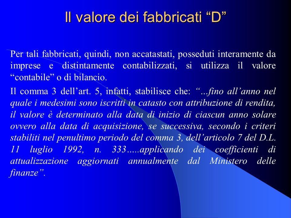 Il valore dei fabbricati D Per tali fabbricati, quindi, non accatastati, posseduti interamente da imprese e distintamente contabilizzati, si utilizza il valore contabile o di bilancio.