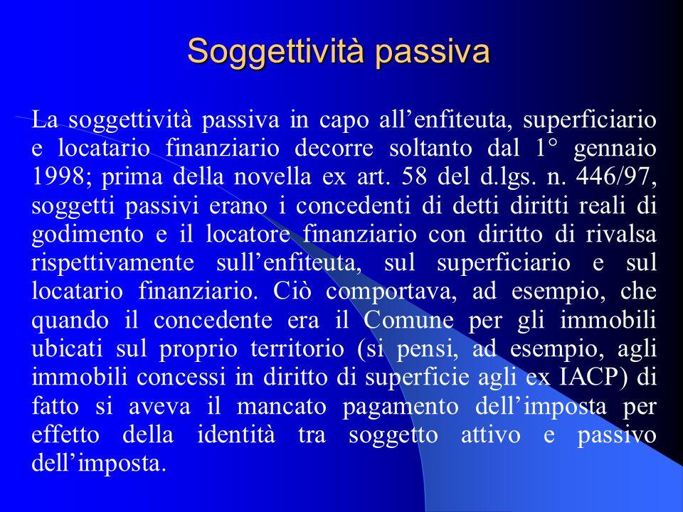 Soggettività passiva La soggettività passiva in capo allenfiteuta, superficiario e locatario finanziario decorre soltanto dal 1° gennaio 1998; prima della novella ex art.