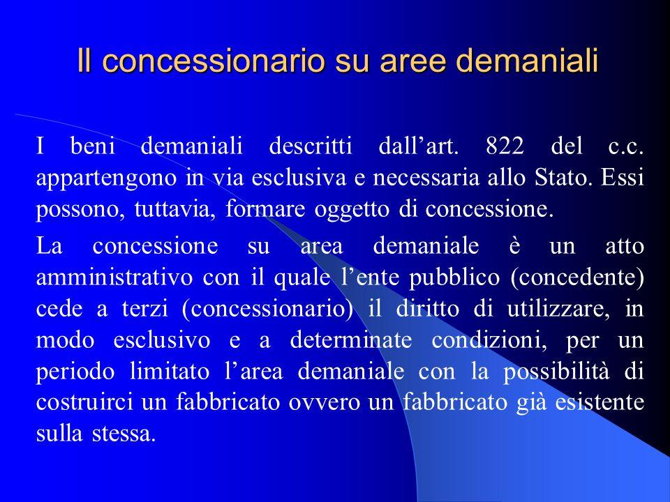 Il concessionario su aree demaniali I beni demaniali descritti dallart. 822 del c.c. appartengono in via esclusiva e necessaria allo Stato. Essi posso