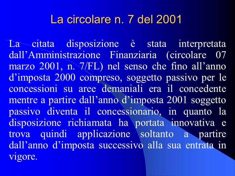 La circolare n. 7 del 2001 La citata disposizione è stata interpretata dallAmministrazione Finanziaria (circolare 07 marzo 2001, n. 7/FL) nel senso ch