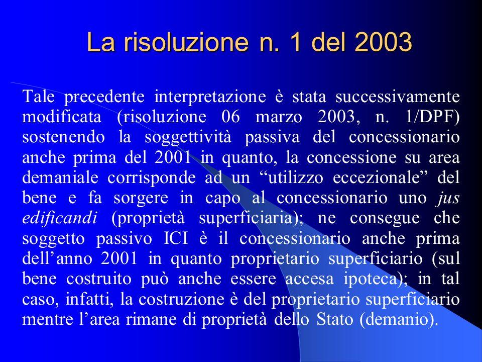 La risoluzione n. 1 del 2003 Tale precedente interpretazione è stata successivamente modificata (risoluzione 06 marzo 2003, n. 1/DPF) sostenendo la so