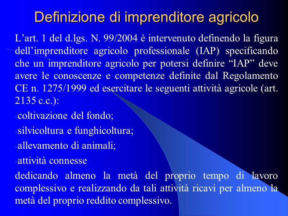 Definizione di imprenditore agricolo Lart. 1 del d.lgs. N. 99/2004 è intervenuto definendo la figura dellimprenditore agricolo professionale (IAP) spe