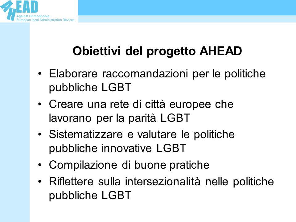 Obiettivi del progetto AHEAD Elaborare raccomandazioni per le politiche pubbliche LGBT Creare una rete di città europee che lavorano per la parità LGBT Sistematizzare e valutare le politiche pubbliche innovative LGBT Compilazione di buone pratiche Riflettere sulla intersezionalità nelle politiche pubbliche LGBT