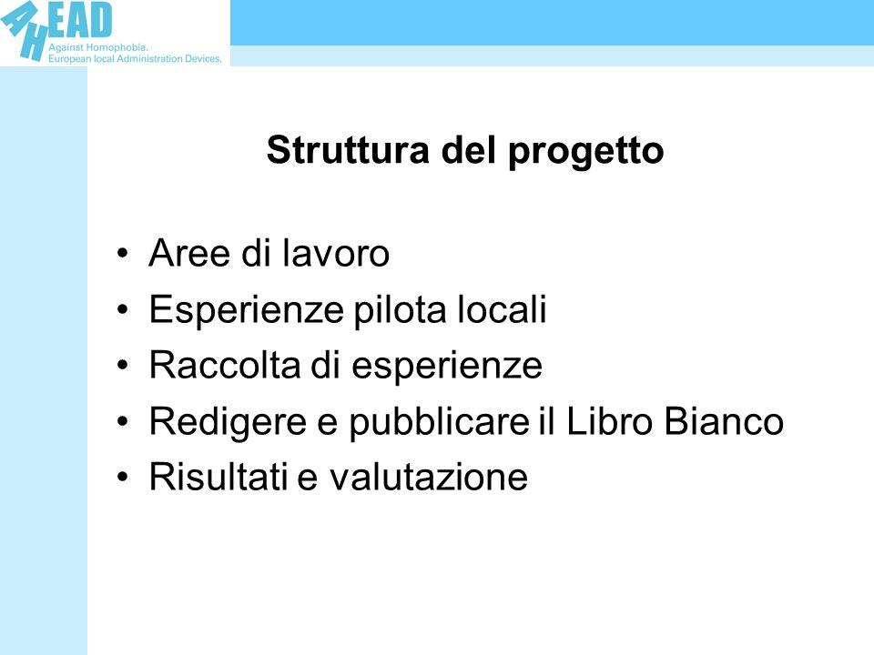 Struttura del progetto Aree di lavoro Esperienze pilota locali Raccolta di esperienze Redigere e pubblicare il Libro Bianco Risultati e valutazione