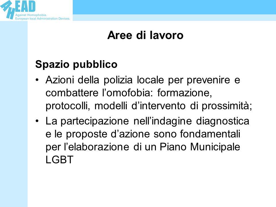 Aree di lavoro Spazio pubblico Azioni della polizia locale per prevenire e combattere lomofobia: formazione, protocolli, modelli dintervento di prossi