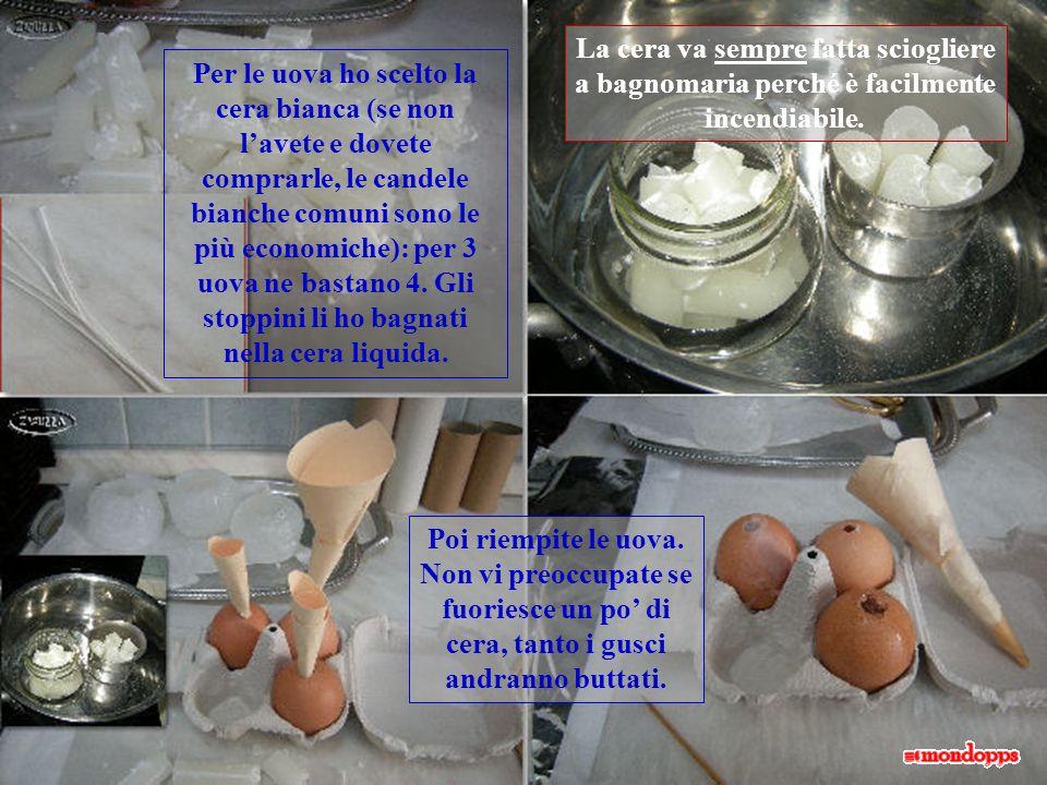 Stampi -uova Laviamo e asciughiamo le uova, poi facciamo un forellino sulla punta, con un ago; foriamo anche laltro lato più largo: vi soffiamo e racc