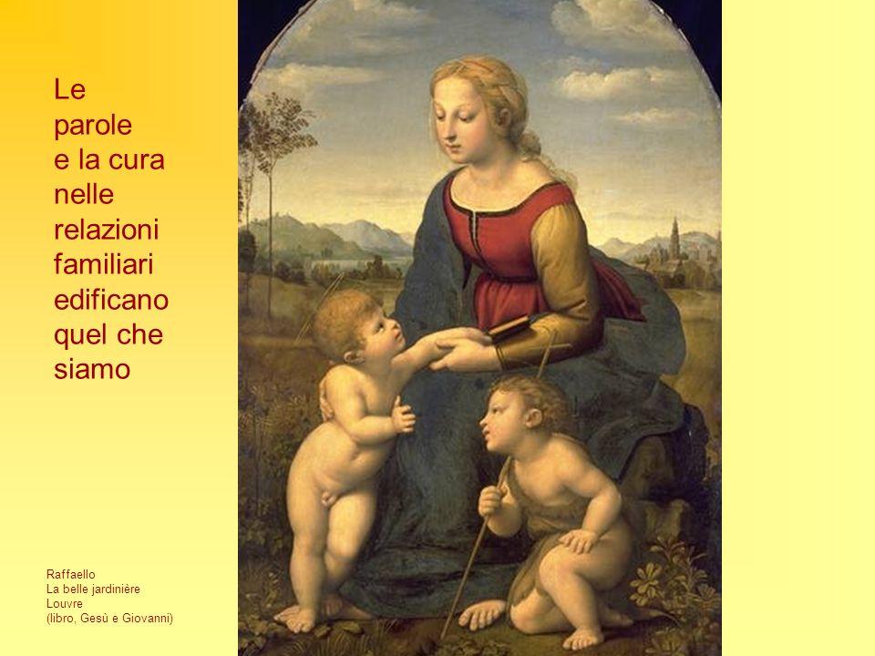 Raffaello La belle jardinière Louvre (libro, Gesù e Giovanni) Le parole e la cura nelle relazioni familiari edificano quel che siamo