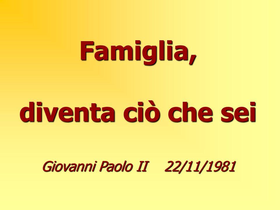 Famiglia, diventa ciò che sei Giovanni Paolo II 22/11/1981
