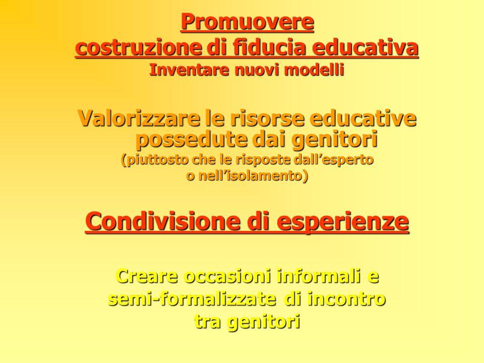 Promuovere costruzione di fiducia educativa Inventare nuovi modelli Valorizzare le risorse educative possedute dai genitori (piuttosto che le risposte