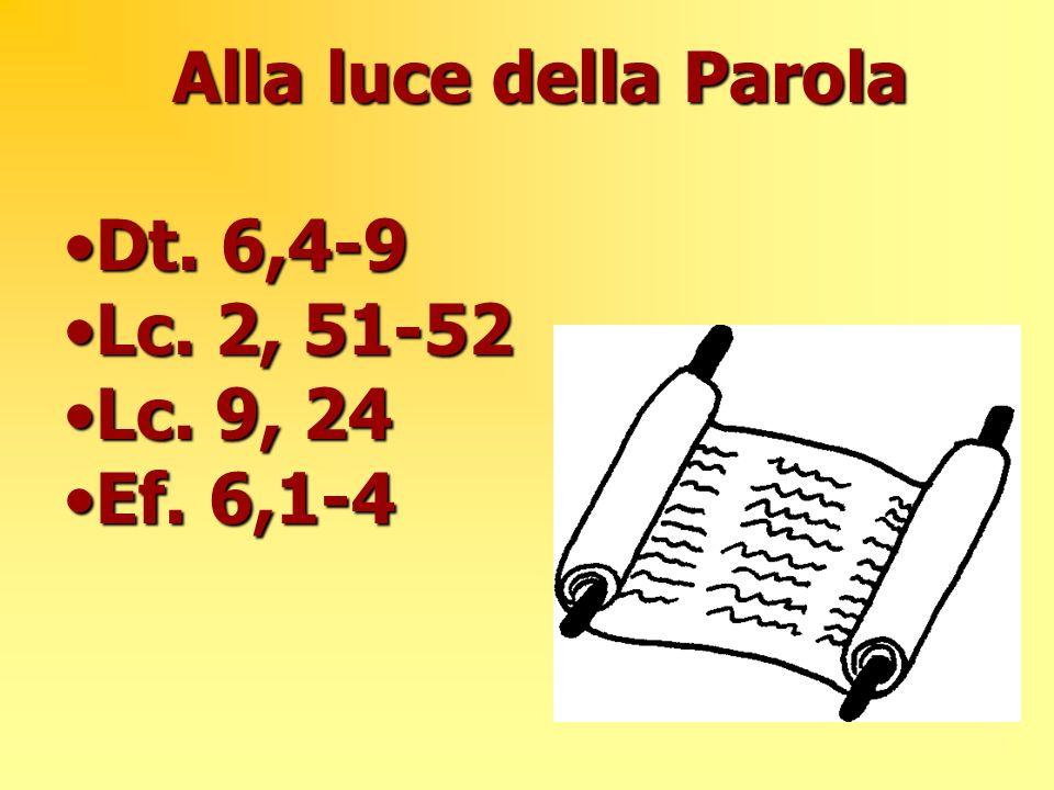 Alla luce della Parola Dt. 6,4-9Dt. 6,4-9 Lc. 2, 51-52Lc. 2, 51-52 Lc. 9, 24Lc. 9, 24 Ef. 6,1-4Ef. 6,1-4