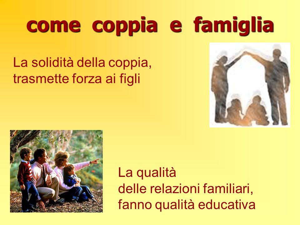 come coppia e famiglia La solidità della coppia, trasmette forza ai figli La qualità delle relazioni familiari, fanno qualità educativa
