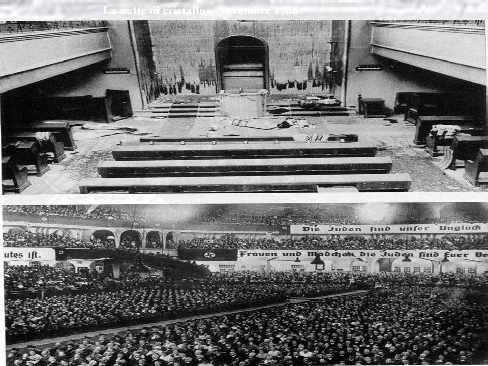 Una drammatica svolta in Senso antisemita Si ebbe nel novembre del 1938 Dopo luccisione di un diplomatico tedesco Da parte di un ebreo. Nella notte tr